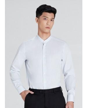 OLYMP เสื้อเชิ้ตแขนยาว คอจีน ทรงพอดีตัว Body Fit สีฟ้า ลายทางยาว