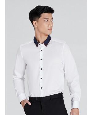 OLYMP เสื้อเชิ้ตแขนยาว ทรงพอดีตัว Body Fit สีขาว ผ้าเรียบ  ปกซ้อนมีกระดุมบนปก ปกแต่งดีเทลลายกราฟฟิค