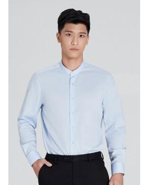 OLYMP เสื้อเชิ้ตแขนยาว คอจีน ทรงพอดีตัว Body Fit สีฟ้า ผ้าเท็กซ์เจอร์