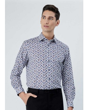 OLYMP เสื้อเชิ้ตแขนยาว ทรงตรง Modern Fit สีขาว พิมพ์ลายกราฟฟิค
