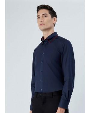 OLYMP เสื้อเชิ้ตแขนยาว ทรง Modern Fit สีน้ำเงิน ผ้าเรียบ ปกซ้อน มีกระดุมบนปก