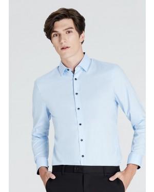 OLYMP เสื้อเชิ้ตแขนยาว ทรงเข้ารูป Super Slim สีฟ้า ผ้าเท็กซ์เจอร์ ปกแต่งดีเทลพิมพ์ลายใต้ปก