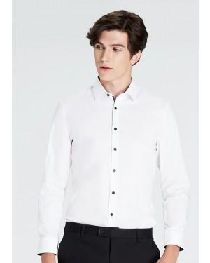 OLYMP เสื้อเชิ้ตแขนยาว ทรง Super Slim พิมพ์ลายใบไม้สีน้ำเงิน