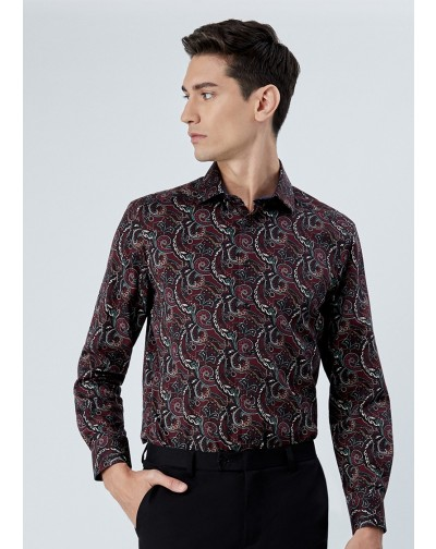 OLYMP เสื้อเชิ้ตแขนยาว ทรง Modern Fit ผ้าพิมพ์ลายกราฟฟิค สีแดง