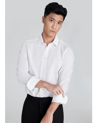 OLYMP เสื้อเชิ้ตแขนยาว สีพื้น ทรงพอดีตัว Body Fit สีขาว