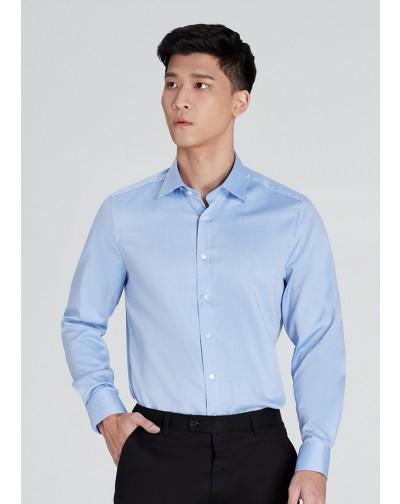 OLYMP เสื้อเชิ้ตแขนยาว ทรง Body Fit สีฟ้า ผ้าเท็กซ์เจอร์