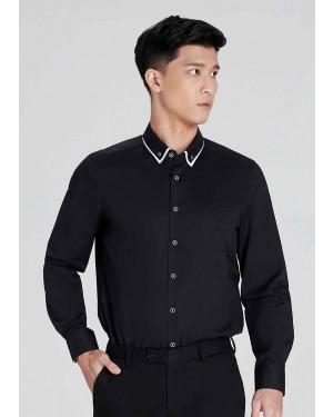 OLYMP เสื้อเชิ้ตแขนยาว ทรงพอดีตัว Body Fit สีดำ ปกแต่งดีเทล มีกระดุมบนปก