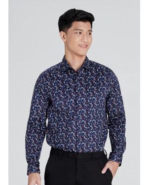 OLYMP เสื้อเชิ้ตผู้ชาย แขนยาว ทรงพอดีตัว Body Fit ผ้าพิมพ์ลายกราฟฟิค สีน้ำเงิน