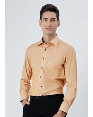 OLYMP เสื้อเชิ้ตแขนยาว ทรง Modern Fit สีเหลือง ผ้าเท็กซ์เจอร์ ปกแต่งดีเทลลายกราฟฟิค