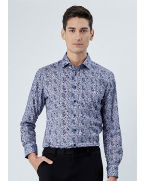 OLYMP เสื้อเชิ้ตแขนยาว ทรงพอดีตัว Modern Fit สีน้ำเงิน พิมพ์ลายกราฟฟิค