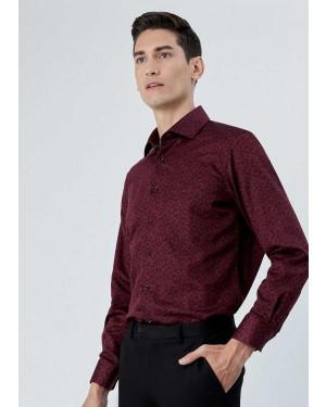 OLYMP เสื้อเชิ้ตแขนยาว ทรงพอดีตัว Modern Fit สีไวน์แดง ผ้าพิมพ์ลาย