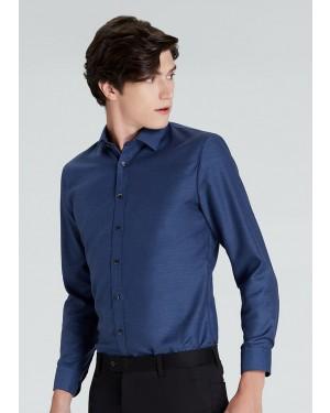 OLYMP เสื้อเชิ้ตแขนยาว ทรงเข้ารูป Super Slim สีกรมท่า ผ้าเท็กซ์เจอร์ ลายตารางสีกรมท่าสลับขาว