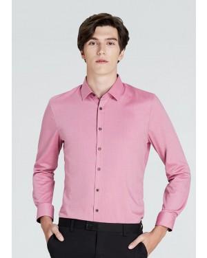 OLYMP เสื้อเชิ้ตแขนยาว ทรงเข้ารูป Super Slim สีชมพูเข้ม ผ้าเท็กซ์เจอร์ ปกแต่งดีเทลพิมพ์ลายใต้ปก