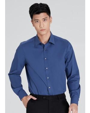 OLYMP เสื้อเชิ้ตผู้ชาย แขนยาว ทรงพอดีตัว Body Fit สีน้ำเงินเข้ม