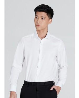 OLYMP เสื้อเชิ้ตแขนยาว ทรง Body Fit สีขาว ผ้าเท็กซ์เจอร์