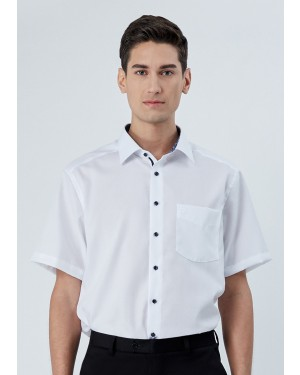 OLYMP เสื้อเชิ้ตผู้ชาย แขนสั้น ทรงตรง Modern Fit สีขาว แต่งดีเทลลายดอกไม้